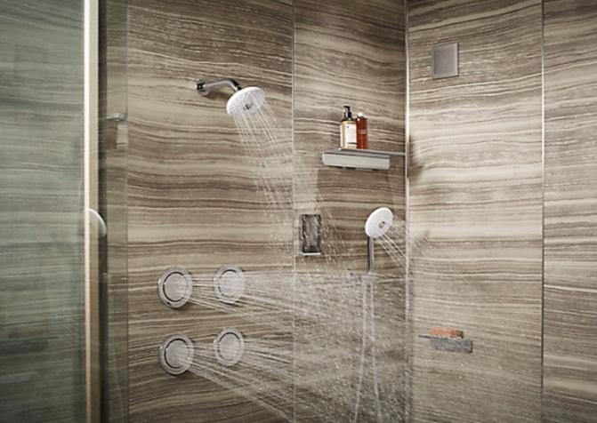ฝักบัว  อุปกรณ์ในห้องน้ำ ที่จะนำกระแสน้ำมาช่วยชำระล้างร่างกายของคุณให้สะอาด